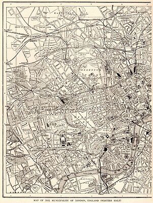 1914 Antique LONDON Map of London England Black & White Gallery Wall Art  #6252