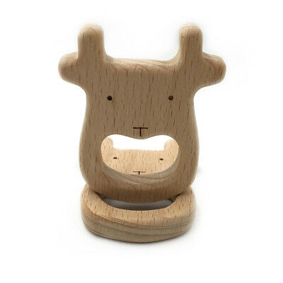 DIY Chew Appease Accessories Cow Shape Wood Teether Baby Teething Care Toy BS