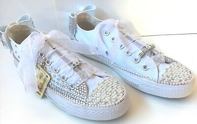 37a6d8f6726810 Wedding Bridal Converse Trainers Bling Pearl Custom Personalised UK 3 4 5 6  7 8!