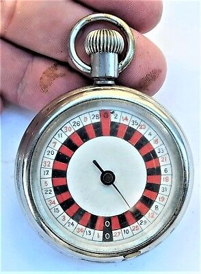 NO RESV c1910 WORKING Miniature Roulette Wheel Pocket Watch Game Vintage Antique