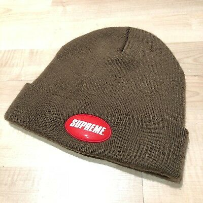 8e77e04ae6dff Supreme Rubber Patch Beanie Hat SS18 Brown One Size Authentic