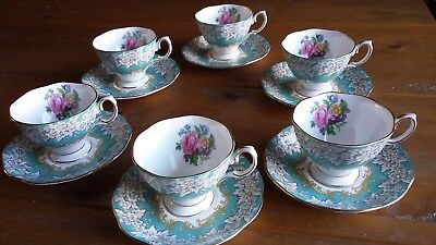 ROYAL ALBERT.. ENCHANTMENT .. CUPS AND SAUCERS ... 1st QUALITY....X  6