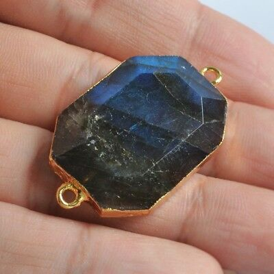 Natural Labradorite Faceted Connector Gold Plated B073696