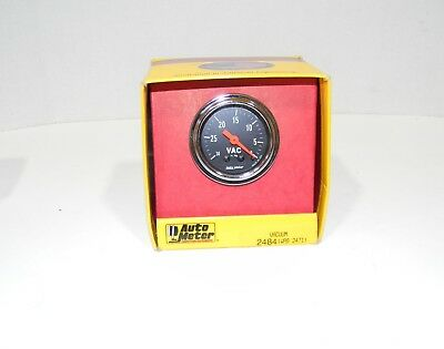 """Autometer 2484 Traditional Chrome Mechanical Vacuum Gauge 2 1/16"""" NEW"""