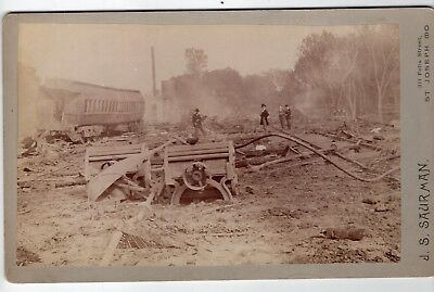 1800s  Two Cabinets Photos Fire at Steel Car Co St Joseph Missouri