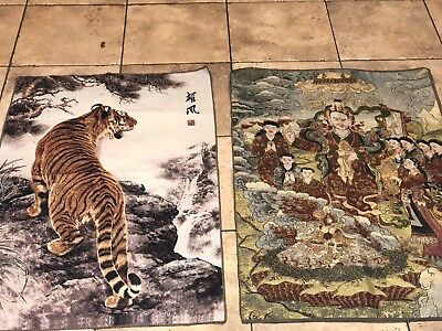 Vintage Chinese Textile Tapestry Wall Art Lot of 2 Tiger & Buddha Meditation