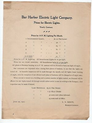 1900 Bar Harbor Electric Light Company Price Sheet Maine