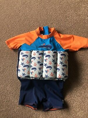 Mothercare Boys Whale Design UV Swim Suit With Built In Floats Age 1-2 Years Vgc