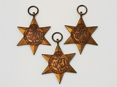 3 X WW2 Star Medals The Africa Star, The Italy Star, 1939-1945 Star