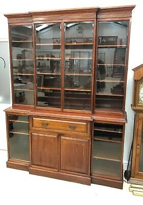 Good Victorian Inlaid Mahogany Fully Glazed Secretaire Triple Bookcase 68in Wide