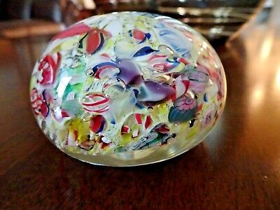 Antique NEGC Boston & Sandwich Art Glass SCRAMBLE Paperweight Millefiori End Day