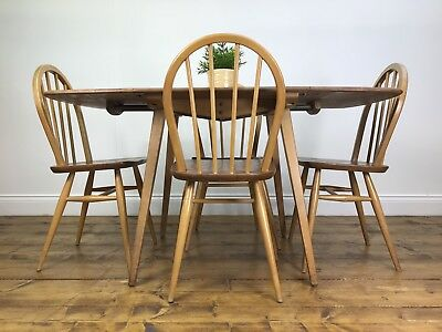 Stunning Retro Ercol Dining Table / 4 Chairs- Vintage Blonde Light Elm Dropleaf