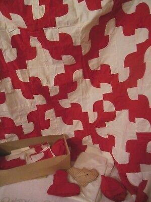 Vintage Red White drunkards Path Incomplete Quilt Top & Pieces & Pattern