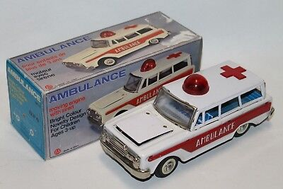 Vintage Blechauto Ambulanz Tin Friction Ambulance NOS