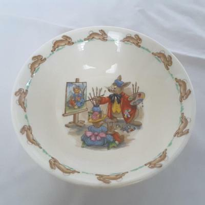 BUNNYKINS ~ 6 Inch Cereal Bowl, Portrait Painter Pattern by Royal Doulton
