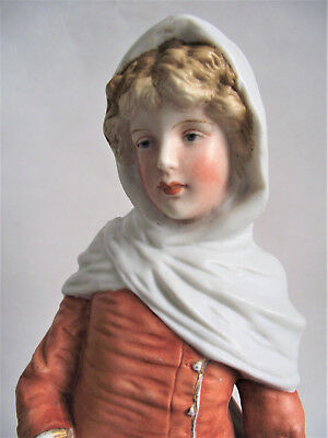 """Antique VICTORIAN german 12"""" YOUNG GIRL Porcelain Bisque Figure Figurine germany"""