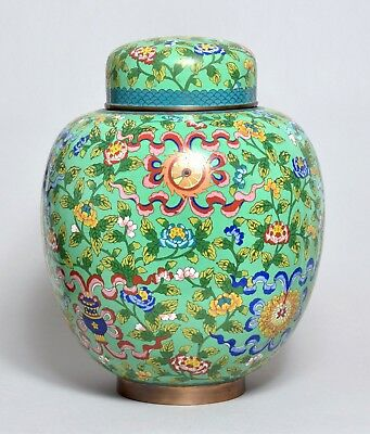 A Superb Rare Massive Heavy Antique Chinese Bronze Cloisonne Ginger Jar Vase