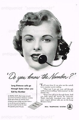 Bell Telephone System DO YOU KNOW THE NUMBER? - Original Anzeige von 1952