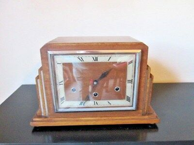 A German Mahogany Art Deco Westminster Quarter Chime Mantel Clock