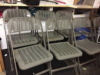 Vintage Metal Folding Chairs (set of 10) Lyon York PA Aurora Perforated Caning