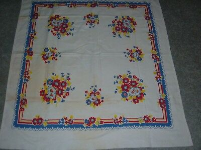 Vintage Tablecloth Red Poppy