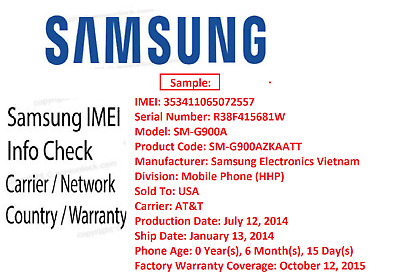 Samsung Manufacture , Country , Carrier , Warranty check Report fast