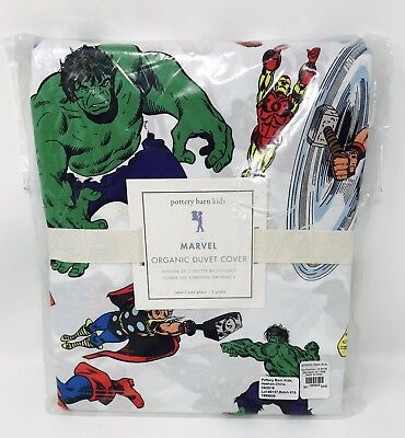 Pottery Barn Kids Marvel Avengers Organic Cotton Duvet Cover Twin New