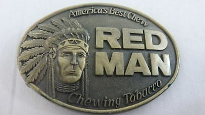 America's Best Chew Red Man Chewing Tobacco Belt Buckle Native American 1988