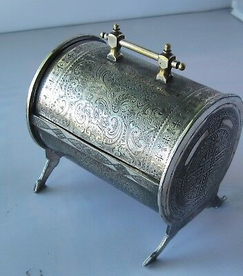 Fancy Antique Victorian Jewelry Box, Silver Plate