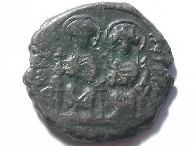 Byzantine bronze follis 13.91gm 31mm Justin & Sophia Year 8 572 AD Sear 360 nice