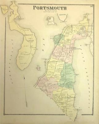 Antique Map Portsmouth, RI - DG Beers Atlas of the State of Rhode Island 1870