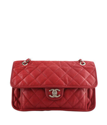 f0cb403a718 CHANEL A67528 LARGE French Riviera Red Quilted Leather Shoulder Bag ...