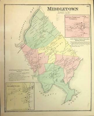 Antique Map Middletown, RI - DG Beers Atlas of the State of Rhode Island 1870