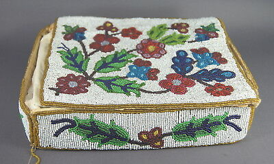 Superb Antique 19Th C Native American Indian Chippewa Beaded Beadwork Box Nr!