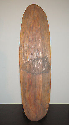 Fine Old Australian Aboriginal Fluted Carved Wooden Tribal Shield Nr!
