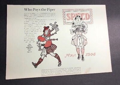 1904 Harris Automatic Printing Press Niles Ohio Scottish Bagpipes Ad 2 Sided