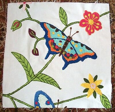 Very Rare Upscale Mackenzie Childs Butterfly Conservatory Fabric Remnant Crewel