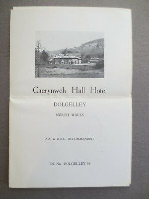 Vintage Advertising Leaflet DOLGELLEY North Wales Caerynwch Hall Hotel 1950s
