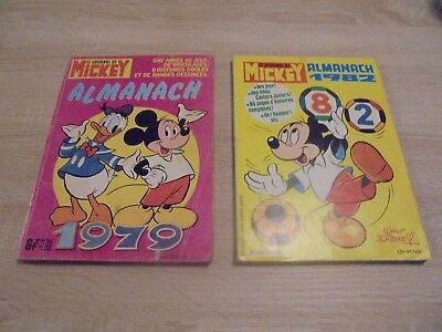 Lot de 2 almanach le journal de Mickey 1979 et 1982