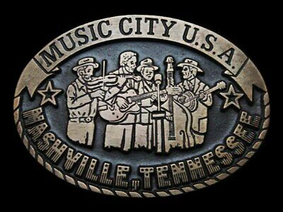 KK07133 1970s NASHVILLE, TENNESSEE **MUSIC CITY U.S.A.** SOLID BRONZE BUCKLE