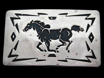 KJ21168 VINTAGE 1970s CHAMBERS **GALLOPING HORSE** SOUTHWESTERN STYLE BUCKLE