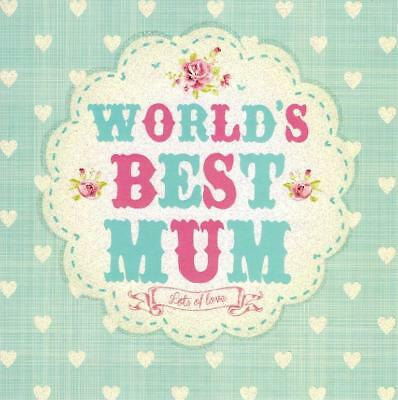 World's Best Mum Pretty Flittered Mother's Day Card Quality Tracks Greeting Card