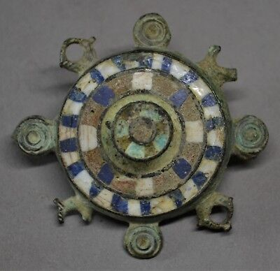 HUGE ROMAN BRONZE & ENAMEL DISC BROOCH. 3rd-4th CENTURY AD. V.F+ STUNNING!