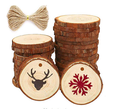 30 pcs 2.4-2.8 inch Natural Wood Slices for Crafts