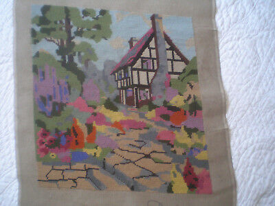 """Lovely Vintage Needlepoint Picture of Cottage and Garden.(26""""""""x 22"""")"""
