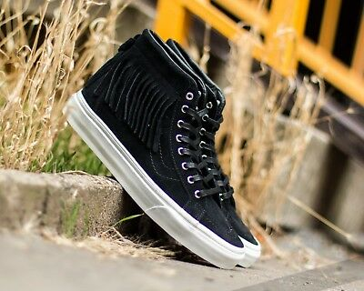 997745da75 VANS SZ 6 SK8 Hi Moc Black Suede Fringe Women s Shoes Sneakers ...