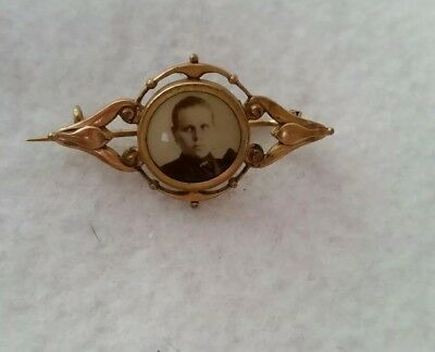 Antique Victorian Beautiful Ornate Photo Pin