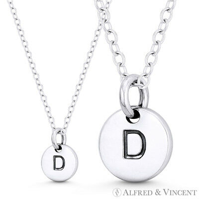 925 Sterling Silver Block Letter D Pendant Initial Alphabet Charm Small