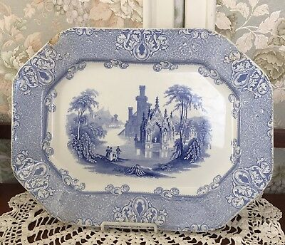 "Antique Staffordshire Blue Transferware Platter J&s Alcock ""Cologne"""