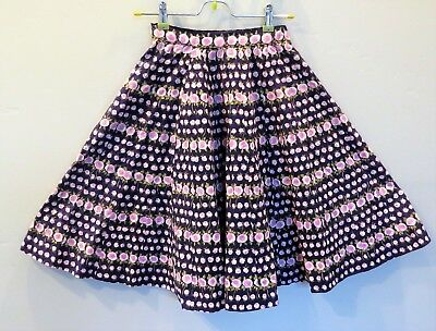VTG 1950s Full Circle Skirt Novelty Floral Cotton LAVENDER ROSES Girl 6-8 or XXS
